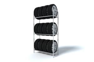 Regál na 12 pneumatiky s diskamy vhodný do garáže a dielne pre uskladnenie 12 pneumatík. . Regál obsahuje tri poličky a šírke 94 cm. Kovový regál ma pozinkovanú povrchovú úpravu a je vhodný aj do vlhkého prostredia. Regál vyrobil Kovtec s.r.o.