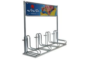 Cyklostojan IQ 4 s reklamným panelom, pozinkovaný