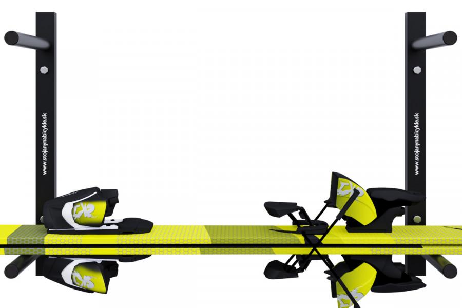 Držiak na lyže na stenu 3 miestny vodorovný, čierny DR-LV16-2S