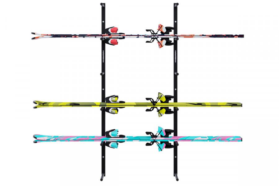 Držiak na lyže na stenu 6 miestny vodorovný, čierny DR-LV16-6C