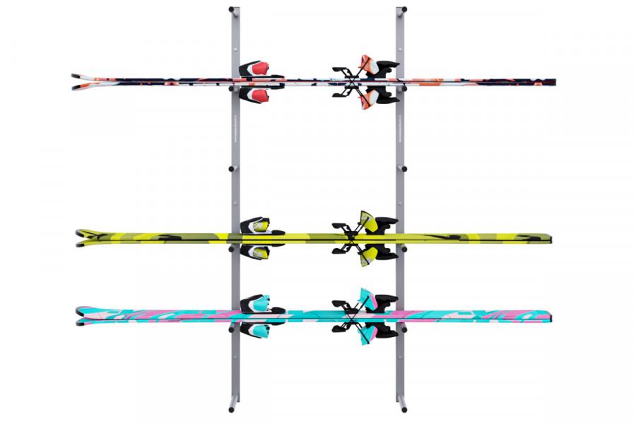 Držiak na lyže na stenu 6 miestny vodorovný, strieborný DR-LV16-6S