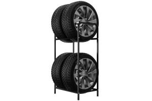Regál na 4 pneumatiky s maximalnou šírkou 4x250 mm. Šírka police 50 cm. Povrchová úprava čierna ral 9005.