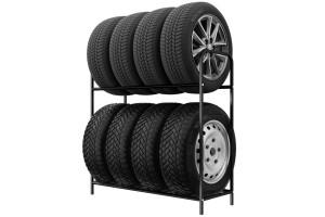 Regál na pneumatiky 8 miestny, 94 cm, čierny