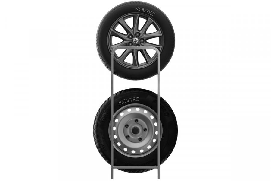 Regál na skladovanie 8 pneumatík, ukážka skladovania