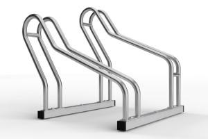 nerezový stojan na dva bicykle so striedavou konštrukciou. model ALFA MAXI do úzkych priestorov. povrchová úprava nerez.