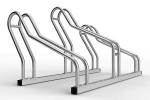 stojan na 3 bicykle so striedavou konštrukciou. model ALFA MAXI do úzkych priestorov. Povrchová úprava nerez.