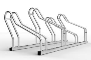 stojan na 4 bicykle so striedavou konštrukciou. model ALFA MAXI do úzkych priestorov. Povrchová úprava galvanické zinkovanie