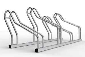 stojan na 4 bicykle so striedavou konštrukciou. model ALFA MAXI do úzkych priestorov. Povrchová úprava nerez.