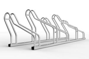 Stojan pre 5 bicyklov. Model ALFA MAXI do úzkych priestorov. Povrchová úprava galvanické zinkovanie.