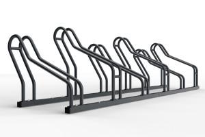 Stojan pre 6 bicyklov alfa maxi do úzkych priestorov. Stojan slúži na parkovanie šiestich bicyklov. Stojan je vhodný aj bicykle s klasickou brzdou ale aj pre bicykle kt majú kotíčové brzdy. Konštrukcia stojanu umožňuje vytočenie stojanov na ľavú a pravú stranu takže pri montáži si ho môžte nastaviť do uhla aký potrebujete. Tento stojan je vo verzii 6 miesty ale vyrába sa vo variante 2 až 20miestny.