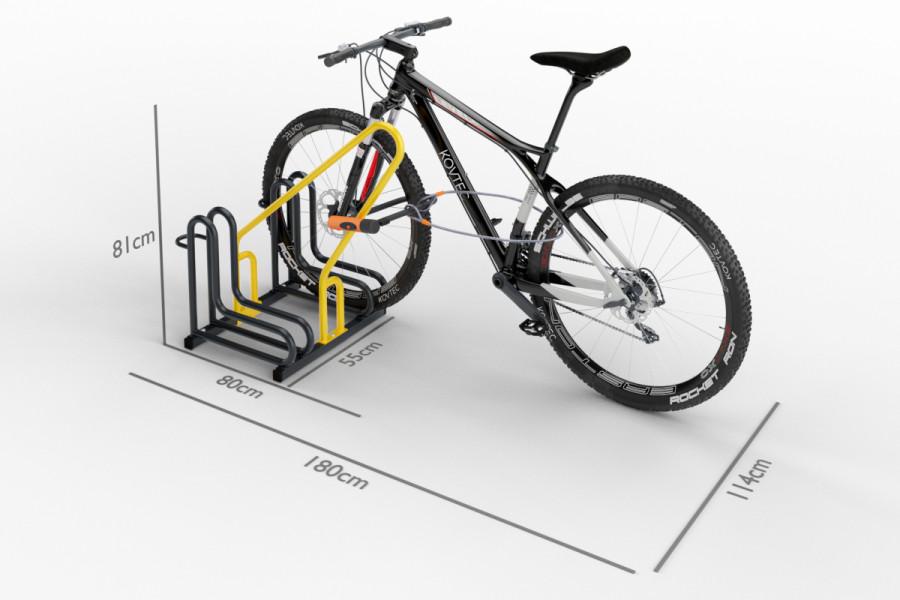 Cyklo stojan na 2 bicykle s rámom na uzamykanie IQ, farebný