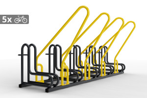 Stojan na 5 bicyklov s rámom na uzamykanie IQ, farebný