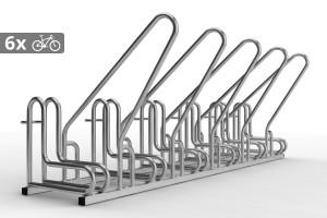 Cyklo stojan pre 6 bicyklov s rámom na uzamykanie IQ, nerezový