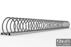 Cyklo stojan na 12 bicyklov v tvare špirály. Povrchová úprava nerez. Typ SNK-SPIRAL-12NE.
