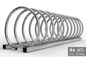 Cyklo stojan na 4 bicykle špirálovitého tvaru. Povrchová úprava galvanický pozink.
