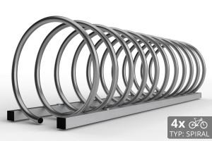 Cyklo stojan na 4 bicykle špirálovitého tvaru. Typ SPIRAL. Povrchová úprava nerez.