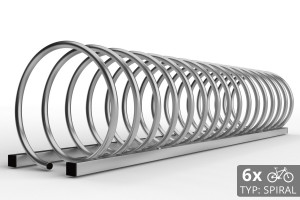 Cyklo stojan na 6 bicyklov v tvare špirály. Povrchová úprava galvanicky zinok. Typ SNK-SPIRAL-6NE.