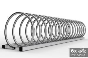 Nerezový cyklo stojan na 6 bicyklov v tvare špirály. Stojan je vyrobený z nereze. Typ SNK-SPIRAL-6NE.