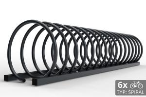 Cyklo stojan na 6 bicyklov v tvare špirály. Povrchová úprava vo farbe ral. Typ SNK-SPIRAL-6RAL.