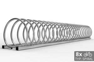 Cyklo stojan na 8 bicyklov v tvare špirály. Povrchová úprava galvanicky zinok. Typ SNK-SPIRAL-8PO.