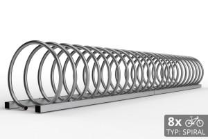 Cyklo stojan na 8 bicyklov v tvare špirály. Povrchová úprava nerez. Typ SNK-SPIRAL-8NE.